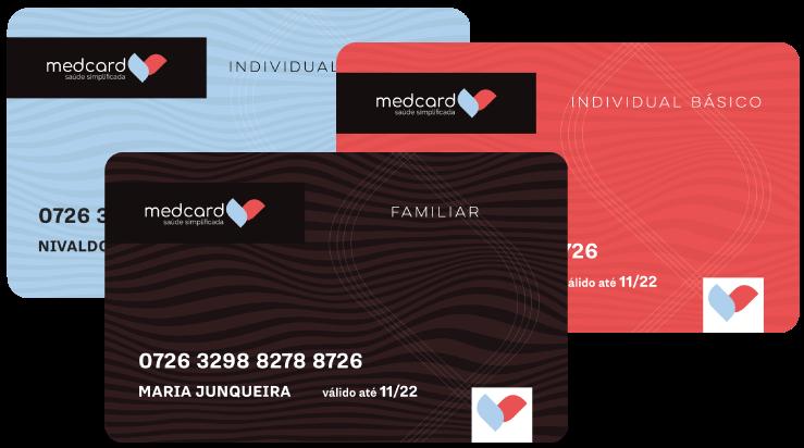 Imagens mostrando as opções de cartões do MedCard: Individual Básico, Individual Superior e Familiar